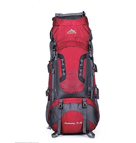 Bergsteigen im Freien Reisetasche 75L Große Kapazität Rucksack Wandern Zelten für Männer und Frauen Rot
