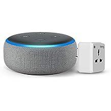 Echo Dot (Grey) Bundle with Oakter 6A smart plug
