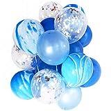 WanTo 12'20pcs Marbre Confetti Ballon Bouquet Effacer Latex Ballons Bébé Douche d'anniversaire De Mariage Parti Décoration Photobooth Fournitures, Ensemble Bleu