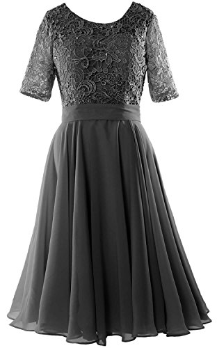 MACloth Elegant Short Mother of the Bride Dress Half Sleeves Lace Formal Gown Black