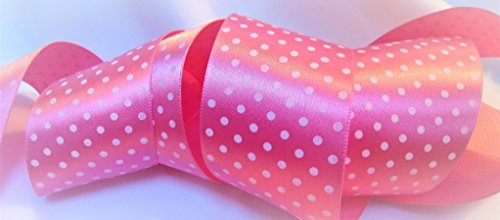 Swiss Dot Ribbon (Rosa Satin Band mit Weiß Swiss Dot Print-3,8cm breit, 10Meter-Ideal für Schleifen und Bastelarbeiten.)