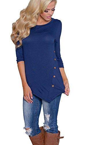 CoCo Fashion Herbst Sweatshirt Damen Langarm Shirt Casual Oberteil Asymmetrisch Shirt Tunika mit Zierknöpfe (EU XXL, Marine) (T-shirt Marine-blau-prime)