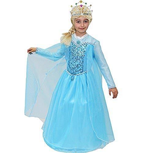 Piccoli monelli costume elsa frozen bambina 5 6 anni vestito principessa regno di ghiaccio carnevale con accessori parrucca 99 cm misura da spalla a terra