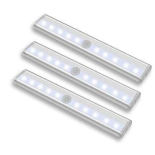 HENGMEI 3er Schrankbeleuchtung Licht Schranklampe mit Bewegungsmelder Sensor Schrankleuchte Warmweiß Batteriebetriebene Leuchte mit Magnetstreifen (3pcs, Warmweiß)