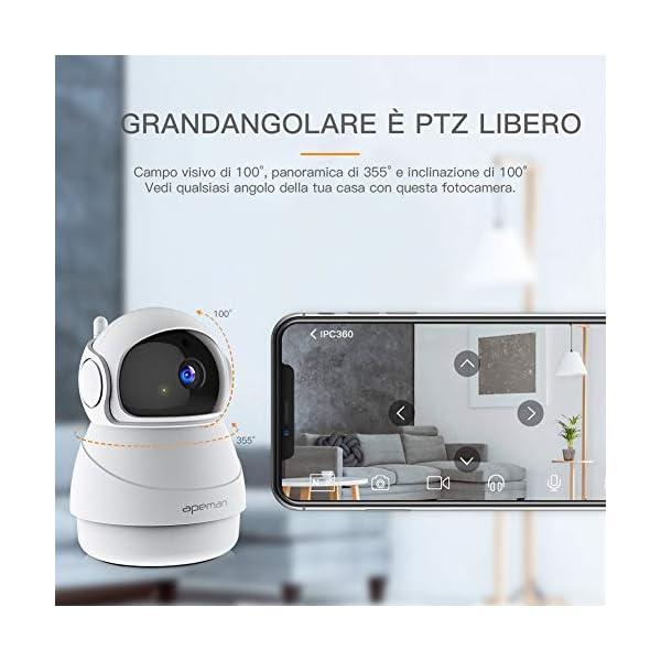 Apeman-FHD-1080p-Telecamera-Sorveglianza-Wifi-Videocamera-IP-Wireless-Interno-Visione-Notturna-a-Infrarossi-Audio-Bidirezionale-Sensore-di-Movimento-Ruotato
