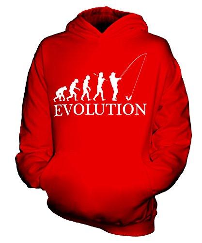 CandyMix Angeln Fischfang Evolution Des Menschen Unisex Kinder Jungen/Mädchen Kapuzenpullover, Größe 7-8 Jahre, Farbe Rot