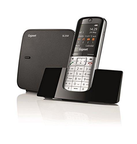 Gigaset SL 350 Telefono Cordless, Rubrica 500 Vcard, Display TFT da 1.8 Pollici, Struttura in Metallo, Argento [Italia]