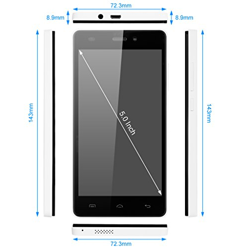 Smartphone Libre  DOOGEE X5 Teléfonos Móviles Libres sin Bloqueo de SIM Baratos (5 Pantalla HD IPS  MT6580 Quad Core  5MP Cámara  8GB ROM  Android 6.0  Bluetooth 4.0  GPS Xender  3G Dual SIM Móvil)   Blanco
