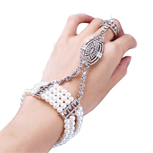 Babeyond bracciale perle con anello bracciale anni 20 braccialetto con anello di stile anni 20 grande gatsby accessori di cristallo austriaci argento
