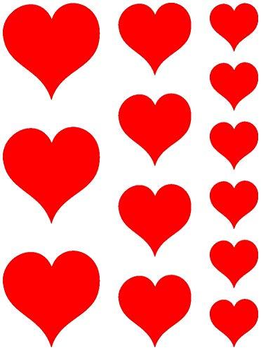 Samunshi® Herzen Autoaufkleber Set 'gefüllt' 870 6x3,5cm+4x5cm+3x7cm hellrot
