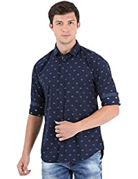 Sting Navy Blue Printed Full Sleeve Casual Shirt