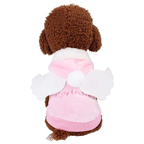 Hemotrade Hund Little Angel Wings Kleidung aus Reiner Baumwolle Hoodies for kleine Hunde Cat (Color : Pink, Size : M) (Angel Cat Kostüm)