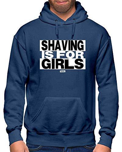 HARIZ Herren Hoodie Shaving is for Girls Sprüche Schwarz Weiß Plus Geschenkkarten Navy Blau M