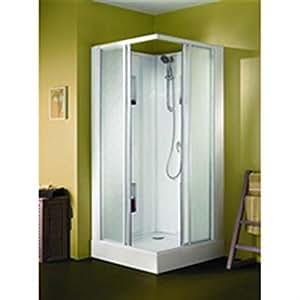 Cabine de douche IZIBOX rectangle 120x70cm, installation en angle, équipement Confort, avec mitigeur, portes coulissante