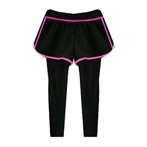 1699ff6c3c970a Tofern Damen Mädchen 2 in 1 Hose Yogahose Jogginghose 3 4 lang für Sport  Yoga