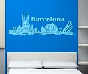 tatuaje barcelona: Tatuaje de pared Skyline XXL Barcelona Adhesivo de Pared Fútbol MUNDO estado CIU...