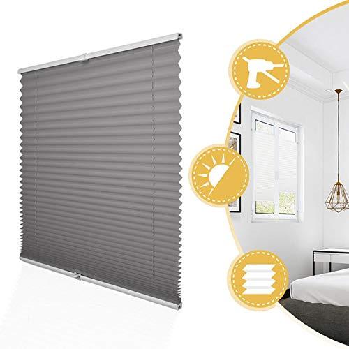 Deswell Plissee Rollo Jalousie ohne Bohren Klemmfix für Fenster & Tür Anthrazit 85 x 130 cm, Plisseerollo Stoff Sonnenschutz leicht zu montieren & Verspannt