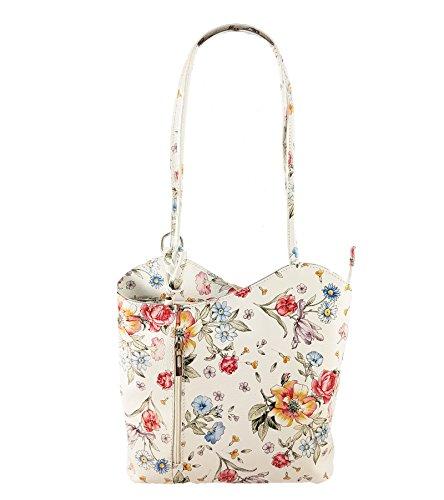2 in 1 Handtasche Rucksack Designer Luxus Henkeltasche aus Echtleder in versch. Designs (Blumen Weiß) (Designer-handtasche Blume)