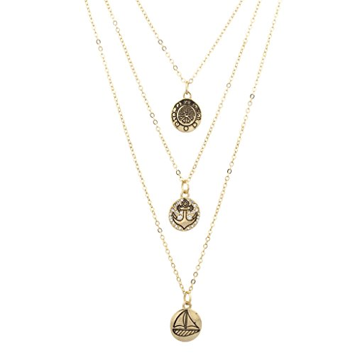 LUX Halskette mit Anker-Anhänger, gold (Bluse Juwel Hals)