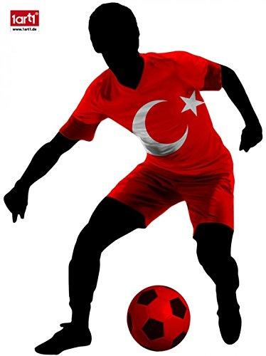 1art1 106281 Fußball - Dribbelnder Fußballer Mit Flaggen-Trikot, Türkei Wand-Tattoo Aufkleber Poster-Sticker 70 x 50 cm