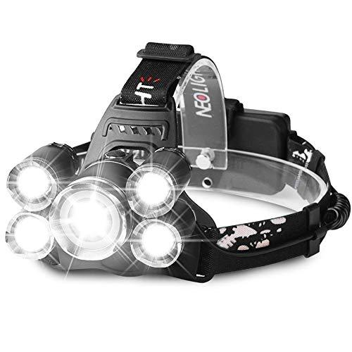 Stirnlampe, Kopflampe LED Akku Stirnlampe LED Wasserdicht Wiederaufladbar 4 Modi inkl. USB Kabel, Ideal für Wandern/Camping/Spazieren /Joggen/Angeln/Klettern