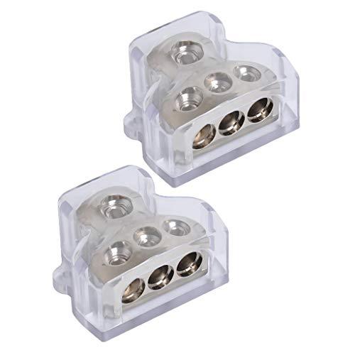 H HILABEE 2Pcs 3-Wege Auto Audio Stereo Amp Power Ground Kabel Splitter Verteilerblock für Autos Boote (Auto-power-splitter)