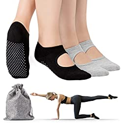 Tusscle Calcetines Yoga, Pilates Calcetines Antideslizantes Mujer pour Yoga, Pilates, Ballet,Fitness Antideslizantes [Negro + Gris, 2 Pares, M (35-41)]