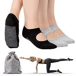 Tusscle rutschfeste Yoga Socken für Damen - 2 Paar Anti-Rutsch Baumwollsocken mit Griffe für Pilates, Stange, Ballett, Barfuß, Fitness