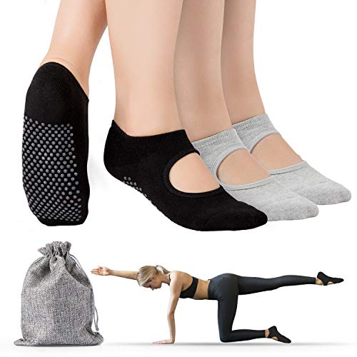Tusscle Yoga Chaussettes Antidérapantes, 2 Paies...