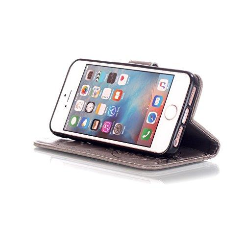 iPhone SE Hülle,iPhone 5S Ledertasche,iPhone 5 Case - Felfy Wallet Hülle Ledertasche Luxe Premium Dünne handgemachte PU-Leder-Mappen-Schlag-Folio Kreditkartensteckplätze Tasche Spleißelement Farbe Des Schmetterling Grau
