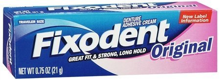 Fixodent Denture Adhesive Cream, Original, Strong and Hold 0.75 Oz