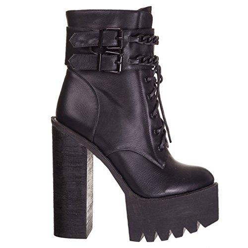 Banned Damen Gothic Plateaustiefel - Lana Combat Boots mit Blockabsatz Schwarz