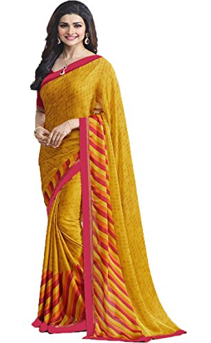 SareeShop Georgette Saree With Blouse Piece (_Yellow_Free Size)