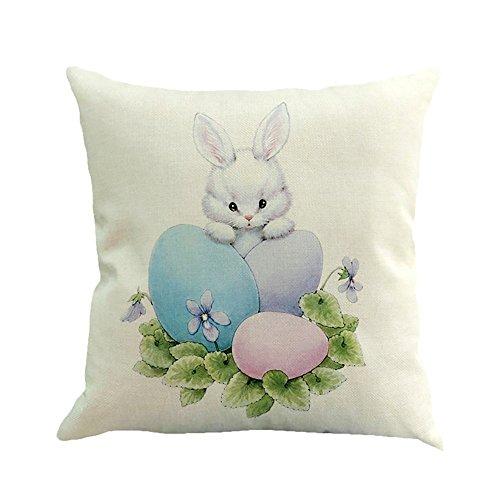2019 nuovo 45cm×45cm/18×18 pollice cotone di lino coniglio pasquale colore uovo impronta divano - letto a casa decorazione festival federa cuscino by wudube