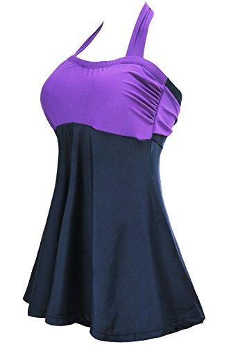 ALICECOCO Le donna Pin-up Bikini Set Halter costumi da bagno un pezzo con gonna integrato Porpora