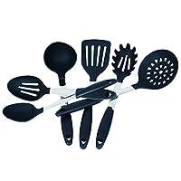 new style 32a03 c896a Kuke - Set di utensili da cucina in acciaio inox e silicone, colore nero –  spatola, cucchiaio, mestolo, mestolo per spaghetti, paletta.
