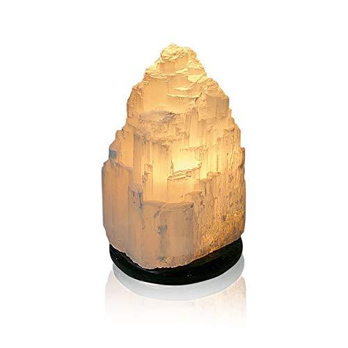 Edelstein Lampe Tischlampe Selenit mit Sockel Naturstein Stein ca. 22 cm hoch