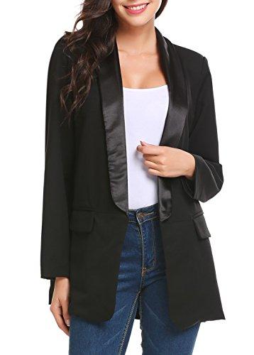 Meaneor Damen Blazer Business Anzug mit Taschen Elegant Freizeit Schlank Lange Hülse Büro Frauen Jacken Anzug (Femininer Blazer)