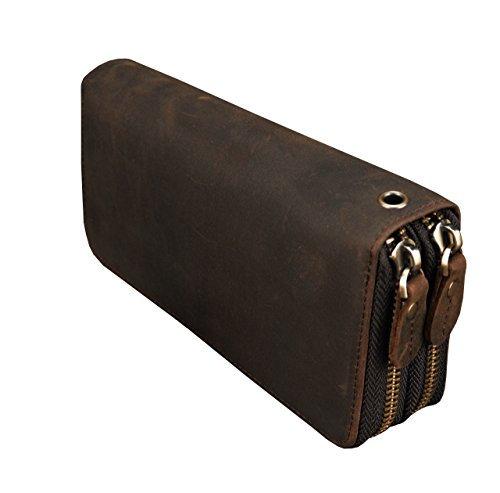 Luufan Echtes Leder Doppelreißverschluss Lange Brieftasche Große Kapazität Leder Clutch Wallets mit Handschlaufe (Kleine Wallet Zip Around)