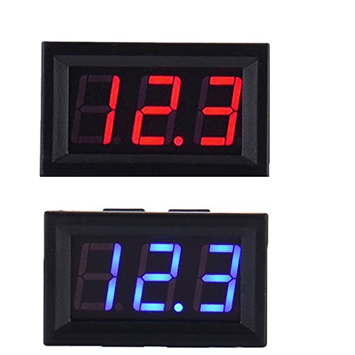 Sharplace 2pcs Digital Multimeter Mini Portable Autor Voltmeter AC DC Spannung Strom DC 5-120 V, Blau + Rot (Mini-digital Multimeter)