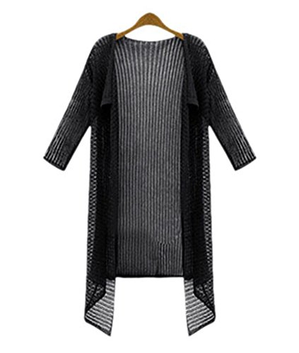 YOUJIA Femmes Manches 3/4 Waterfall Tricot Chandail Cardigan Sweater Jumper Blouse Noir
