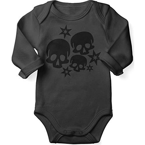 Mikalino Babybody mit Spruch für Jungen Mädchen Unisex Langarm Skulls and Stars | handbedruckt in Deutschland | Handmade with Love, Farbe:Darkgrey, ()