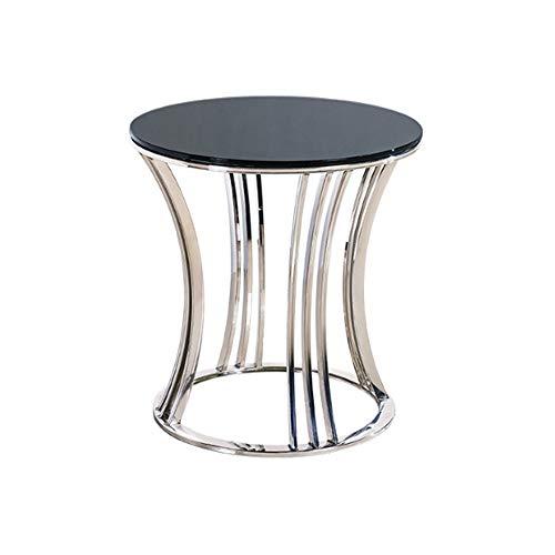 Klapptisch YANFEI, Marmor Countertop Couchtisch Edelstahl Halterung Beistelltisch Einfache Hohl Kleine Runde Tisch, 50 * 52,5 cm -