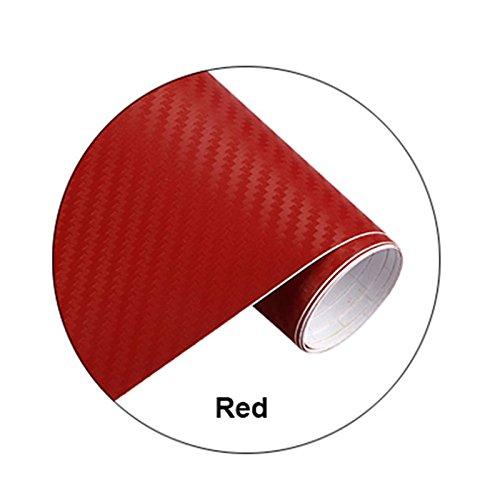 hongfei Rosso Pellicola in rotolo di pellicola avvolta in fibra di carbonio Adesivo per auto fai da te 200x30CM