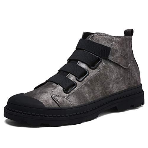 (Männer Stiefeletten Atmungsaktiv Martin Stiefel Mann Leder Hohe Spitzenschuhe Männliche Outdoor Casual Schuhe)