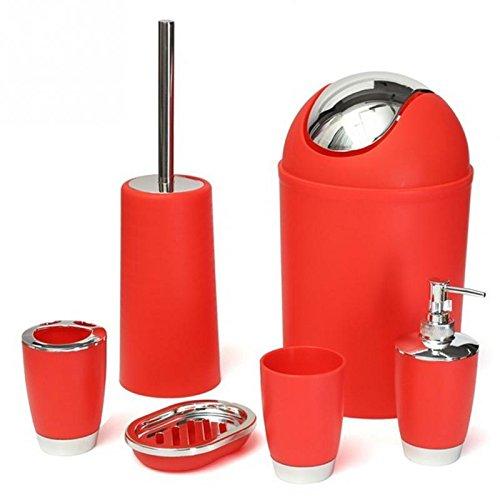 ST @ llion® 6Stück Kunststoff Bad Zubehör Badezimmer Set, Lotionspender, Zahnbürstenhalter, Becher Cup, Seifenschale, Trash kann, WC-Bürste Set rot