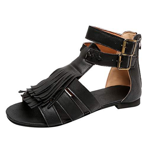 MRULIC Sandalen Damen Sommer Flach Bunt Boho Vintage Schuhe Römischen Schuhe Übergröße Sommerschuhe Strandschuhe Pantoletten Krawatte Geschnürt Gladiator(Schwarz,39 EU)