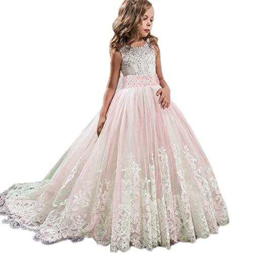 Julhold Lace Girl ärmellose O-Ausschnitt Prinzessin Brautjungfer Pageant Tutu Tüll Kleid Party Hochzeitskleid Hochzeit -