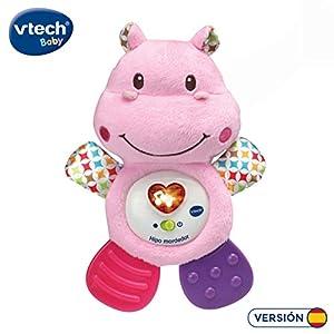 VTech HIPO Mordedor Hipopótamo de Peluche Musical y sonajero Que Ayuda a calmar y aliviar a tu Bebe con tiernas Frases, Canciones y melodías, Color Rosa (3480-502557)