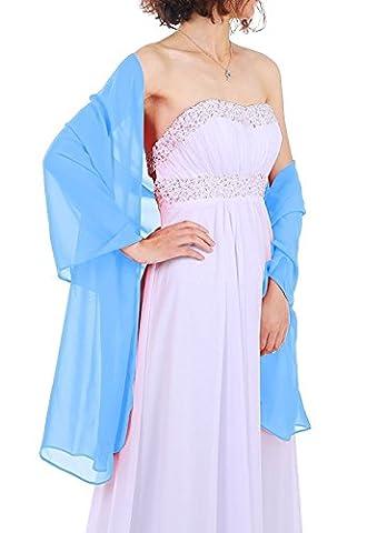 Dressystar Women's Chiffon Bridal Evening Shawls Scarves L Blue